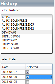 SQL Server history viewer selection