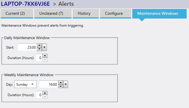 alert maintenance windows screen